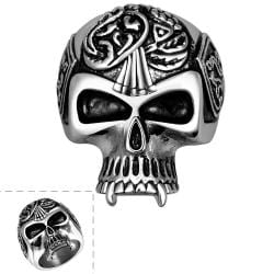 Vienna Jewelry Thin Skull Stainless Steel Ring - Thumbnail 0