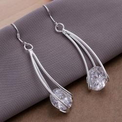 Vienna Jewelry Sterling Silver Drop Crystal Earring - Thumbnail 0