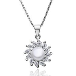 Vienna Jewelry White Gold Spiral Cultured Pearl Emblem Pendant