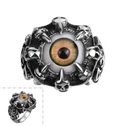 Vienna Jewelry Orange Eyeball Stainless Steel Ring - Thumbnail 0