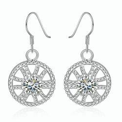 Vienna Jewelry Sterling Silver Spiral Swirl Design Drop Earring - Thumbnail 0
