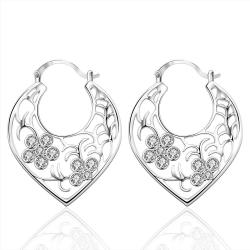 Vienna Jewelry Sterling Silver Crystal Floral Inprint Hoop Earring - Thumbnail 0