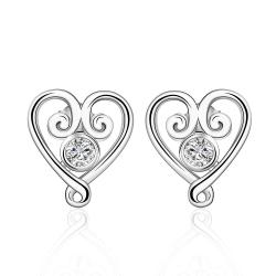 Vienna Jewelry Sterling Silver Crystal Curved Heart Shaped Earring - Thumbnail 0