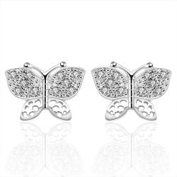 Vienna Jewelry Sterling Silver Petite Crystal Lining Earring - Thumbnail 0