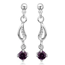 Vienna Jewelry Sterling Silver Purple Citrine Gem Drop Drop Earring - Thumbnail 0