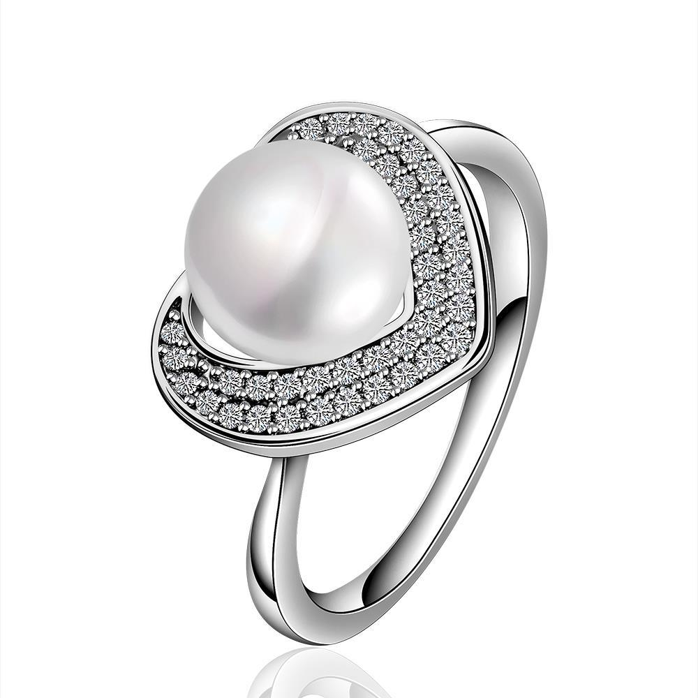 Vienna Jewelry White Gold Plated Cultured Pearl Heart Shaped Crystal Ring