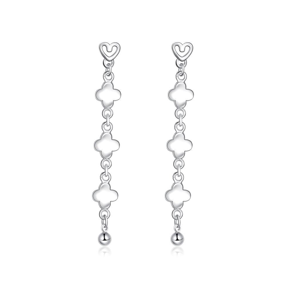 Vienna Jewelry Sterling Silver Clover Shaped Drop Earring