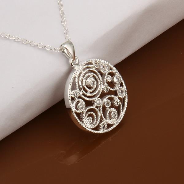 Vienna Jewelry Sterling Silver Laser Cut Swirl Emblem Necklace