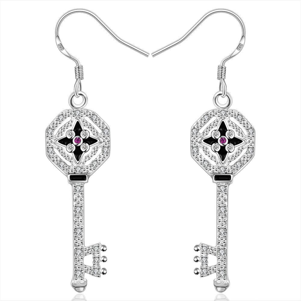Vienna Jewelry Sterling Silver Drop Door Key Earring