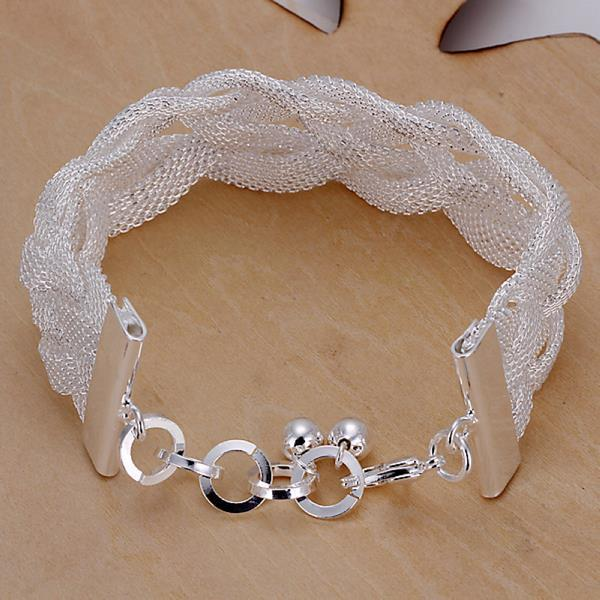 Vienna Jewelry Sterling Silver Intertwined Mesh Bracelet