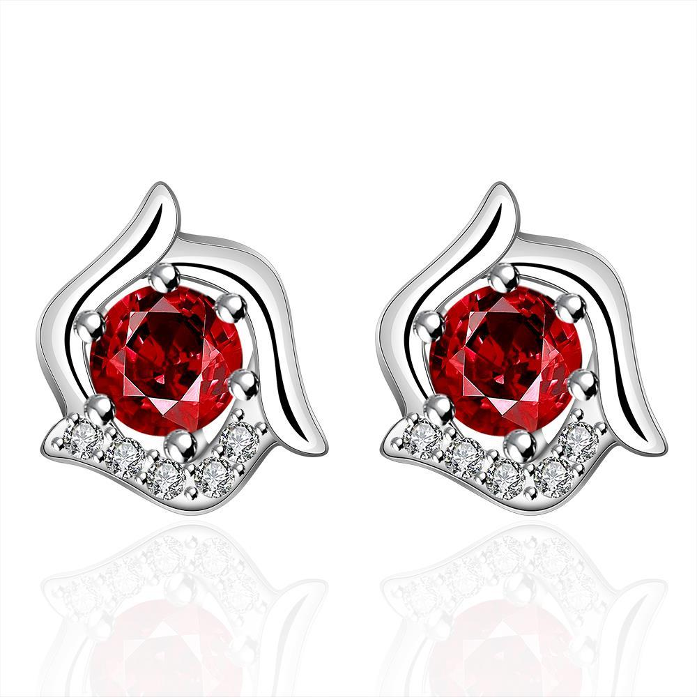 Vienna Jewelry Sterling Silver Curved Floral Ruby Stud Earring