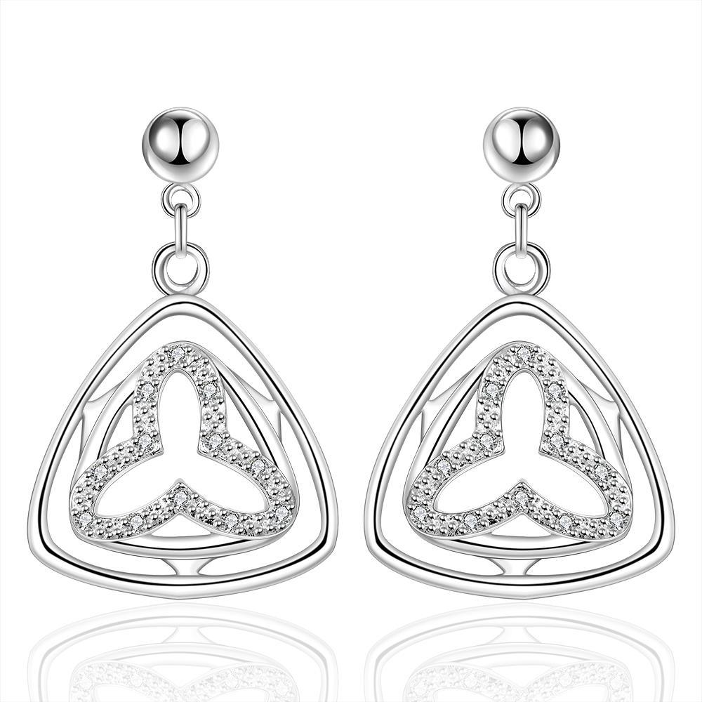 Vienna Jewelry Sterling Silver Hollow Clover Triangular Drop Earring