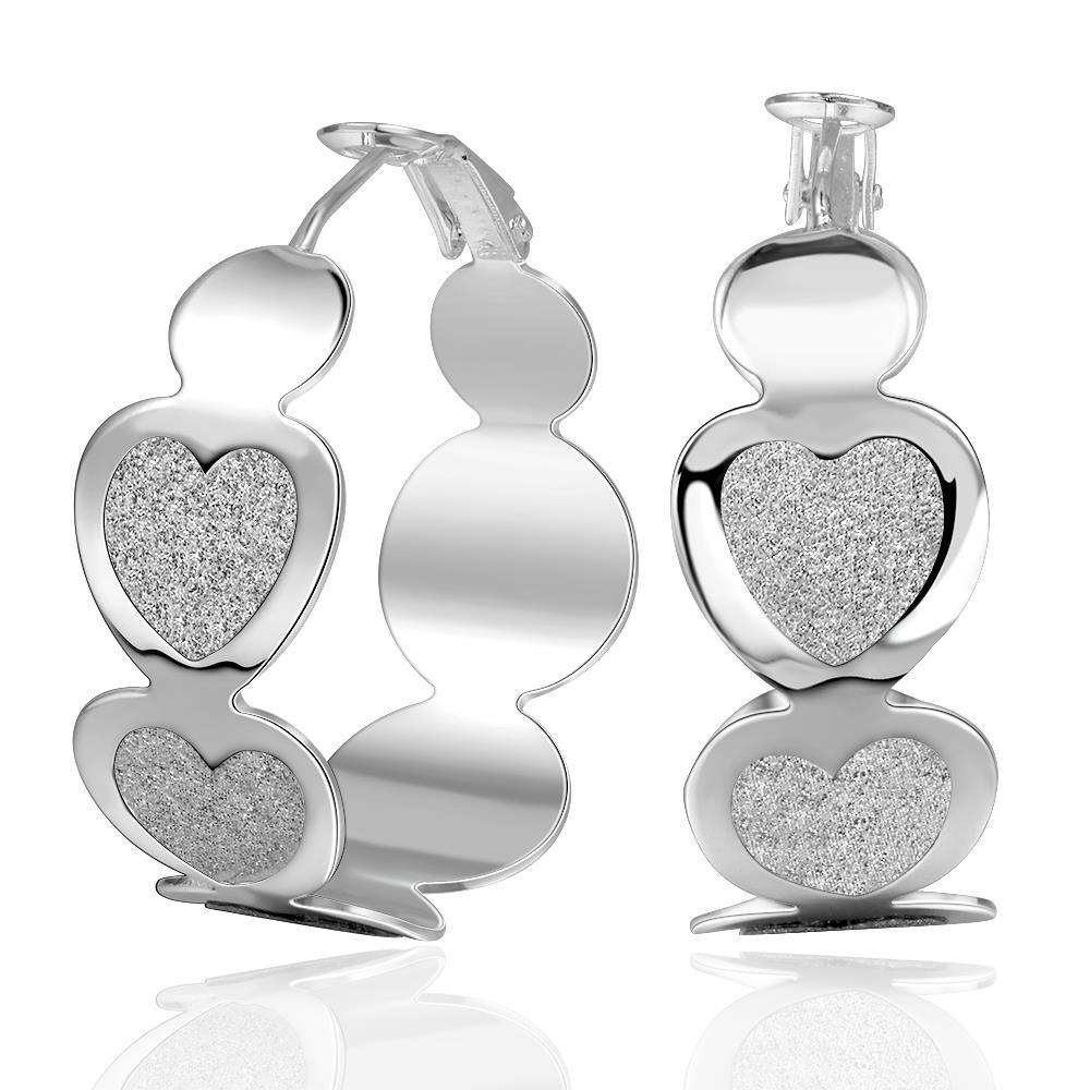 Vienna Jewelry Sterling Silver Heart Shaped Surrounded Hoop Earring