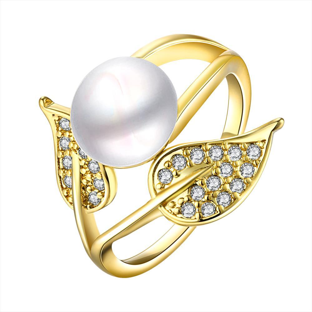 Vienna Jewelry Gold Plated Cultured Pearl Duo-Leaf Ring - Thumbnail 0