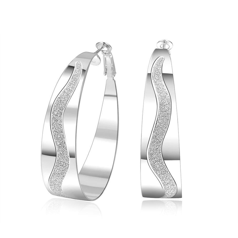 Vienna Jewelry Sterling Silver Outside Zig-Zag Crystal Lining Hoops