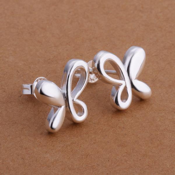 Vienna Jewelry Sterling Silver Semi Hollow Butterfly Stud Earring