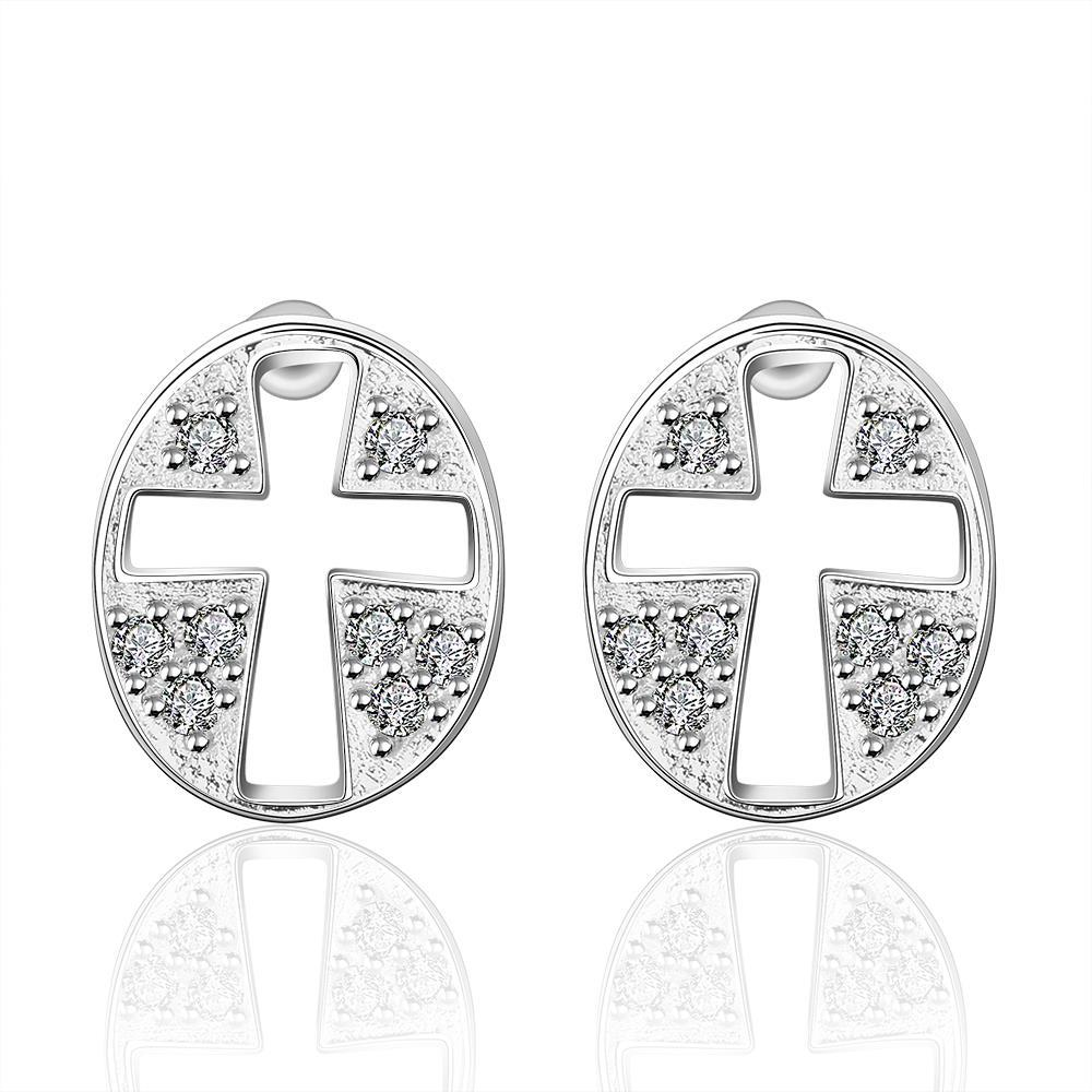 Vienna Jewelry Sterling Silver Hollow Cross Stones Stud Earring