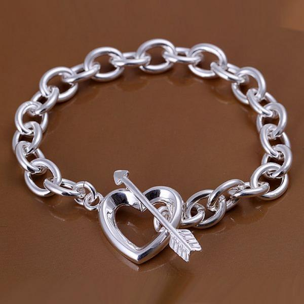 Vienna Jewelry Sterling Silver Thick Interlock Clasp Closure Chain Bracelet