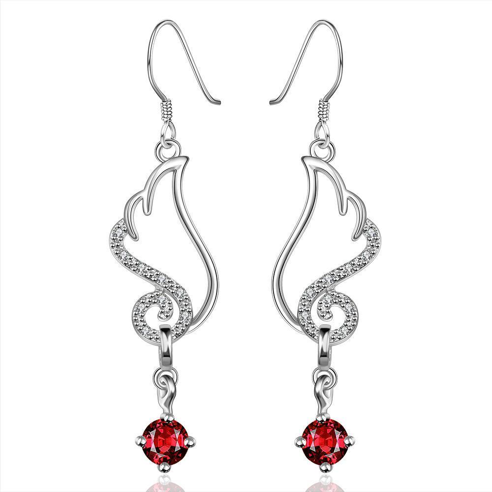 Vienna Jewelry Sterling Silver Butterfly Ruby Wings Drop Earring