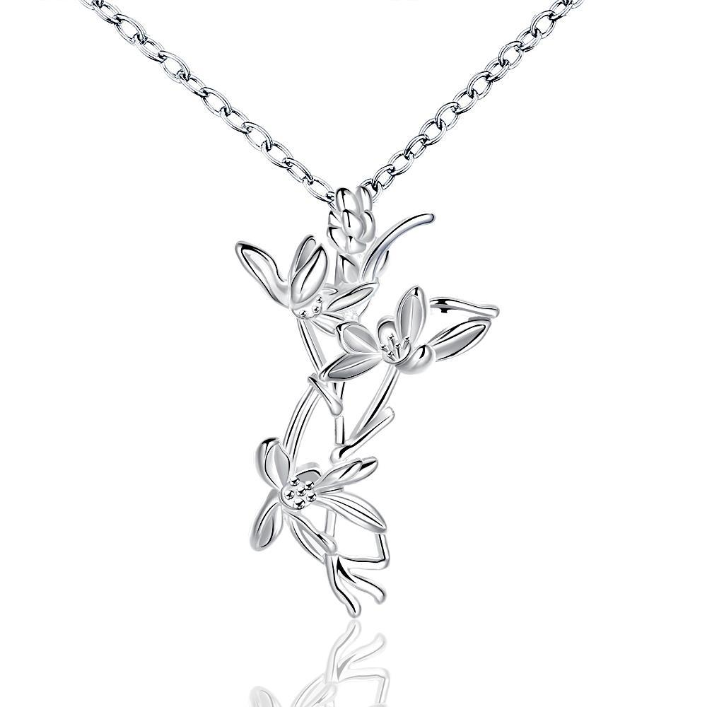 Vienna Jewelry Sterling Silver Dangling Floral Orchid Drop Necklace