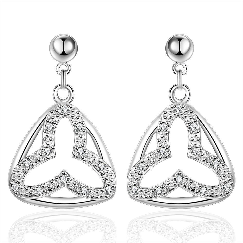 Vienna Jewelry Sterling Silver Hollow Clover Stud Drop Earring