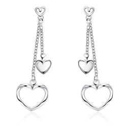 Vienna Jewelry Sterling Silver Duo-Hearts Drop Earring - Thumbnail 0