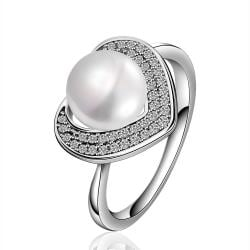 Vienna Jewelry White Gold Plated Cultured Pearl Heart Shaped Crystal Ring - Thumbnail 0