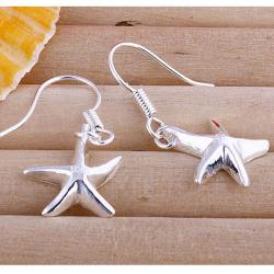 Vienna Jewelry Sterling Silver Five-Point Starfish Earring - Thumbnail 0