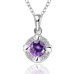 Vienna Jewelry Sterling Silver Purple Citrine Center Drop Necklace - Thumbnail 0