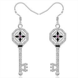 Vienna Jewelry Sterling Silver Drop Door Key Earring - Thumbnail 0