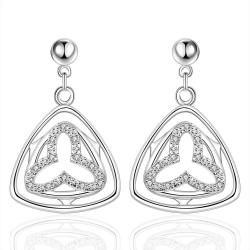 Vienna Jewelry Sterling Silver Hollow Clover Triangular Drop Earring - Thumbnail 0