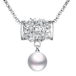 Vienna Jewelry White Gold Plated Circular Rolling Pin Cultured Pearl Drop Necklace - Thumbnail 0