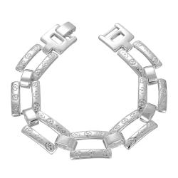Vienna Jewelry Sterling Silver Thick Connecting Lock Bracelet - Thumbnail 0