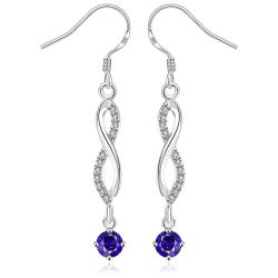 Vienna Jewelry Sterling Silver Thin Line Vertical Drop Sapphire Earring - Thumbnail 0