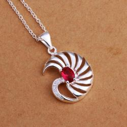 Vienna Jewelry Sterling Silver Swirl Ruby Emblem Drop Necklace - Thumbnail 0