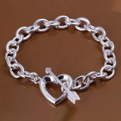 Vienna Jewelry Sterling Silver Thick Interlock Clasp Closure Chain Bracelet - Thumbnail 0