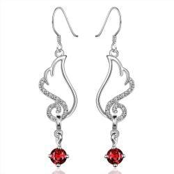 Vienna Jewelry Sterling Silver Butterfly Ruby Wings Drop Earring - Thumbnail 0