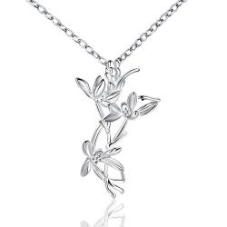 Vienna Jewelry Sterling Silver Dangling Floral Orchid Drop Necklace - Thumbnail 0