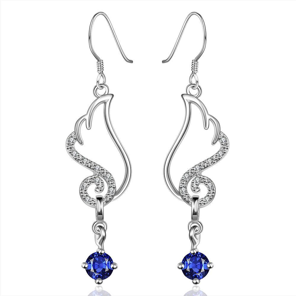 Vienna Jewelry Sterling Silver Butterfly Sapphire Wings Drop Earring