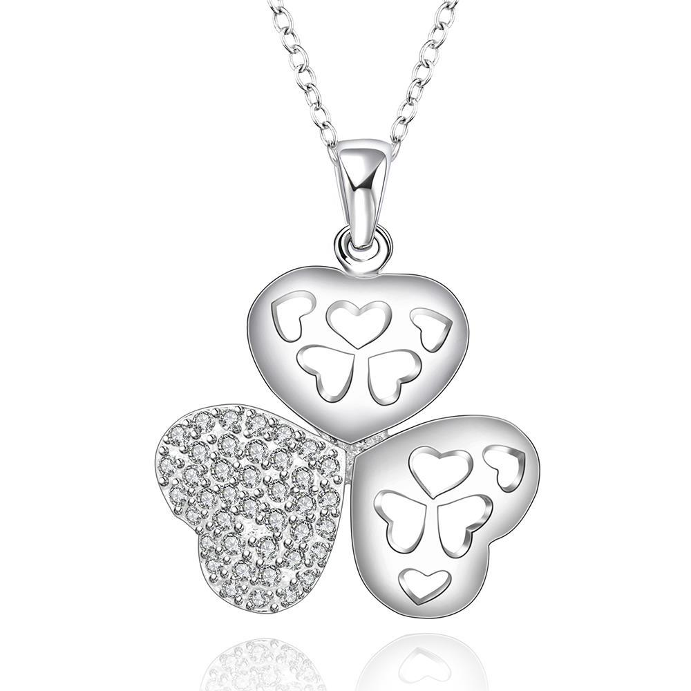 Vienna Jewelry Sterling Silver Laser Cut Trio-Clover Petals Drop Necklace