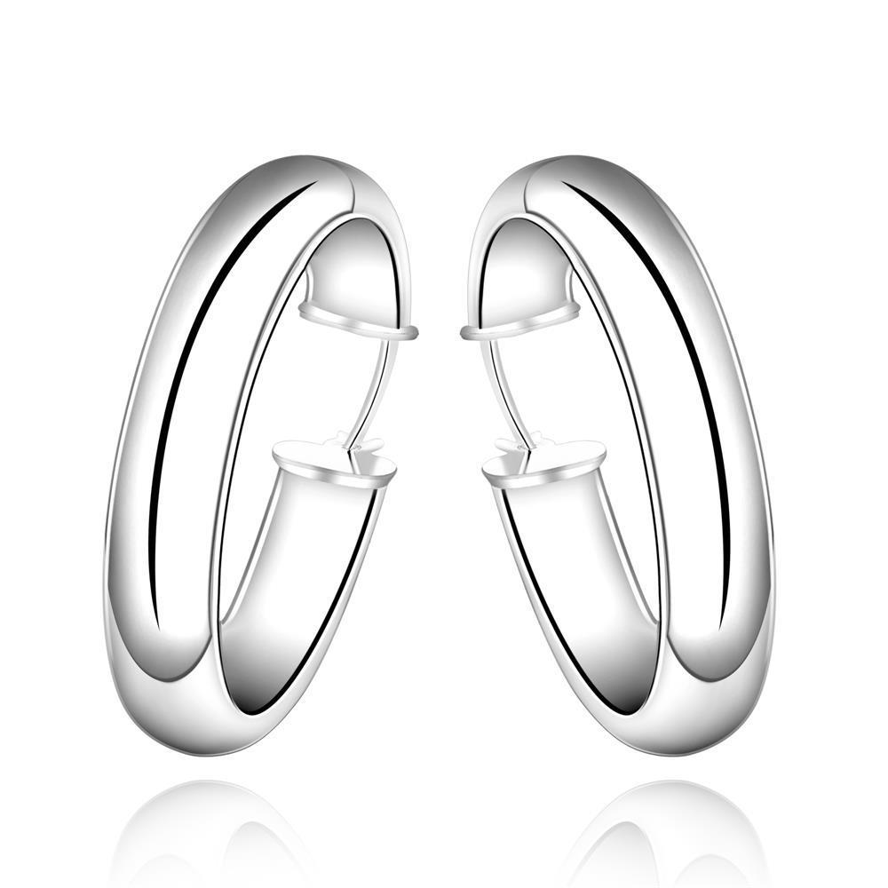 Vienna Jewelry Sterling Silver Classical Clean Cut Hoop Earring