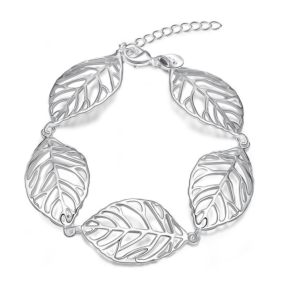 Vienna Jewelry Sterling Silver Connecting Leaf Bracelet