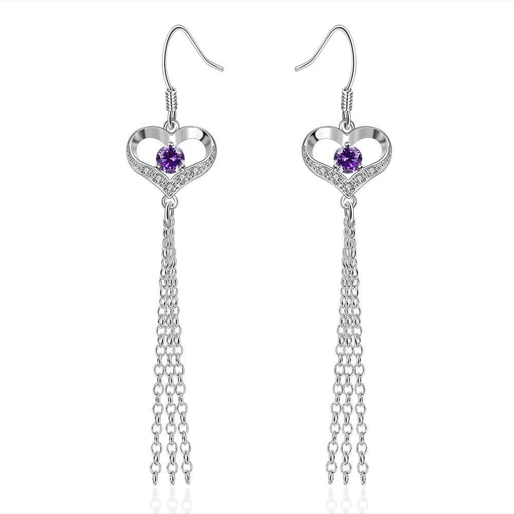Vienna Jewelry Sterling Silver Purple Citrine Hollow Heart Drop Earring