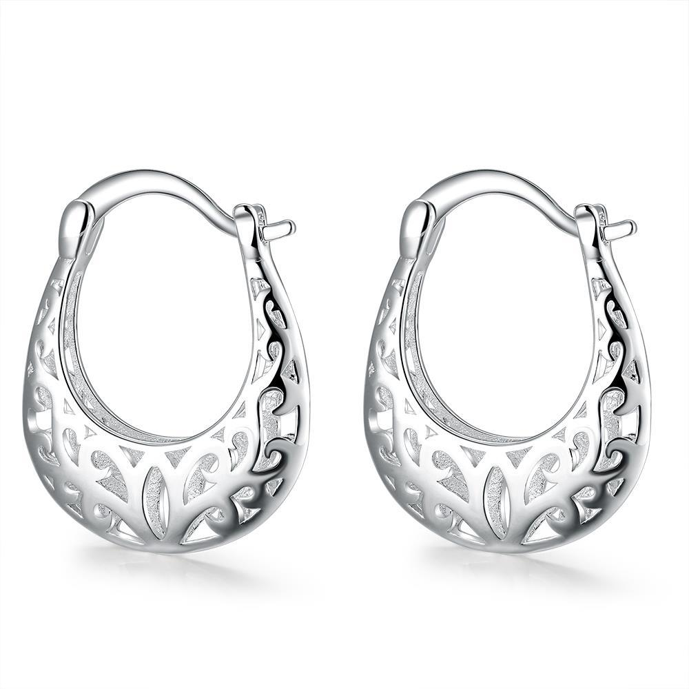 Vienna Jewelry Sterling Silver Laser Cut Abstract Hoop Clasps