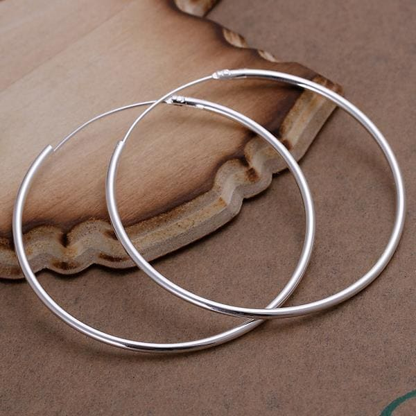 Vienna Jewelry Sterling Silver Thin Cut Hoops