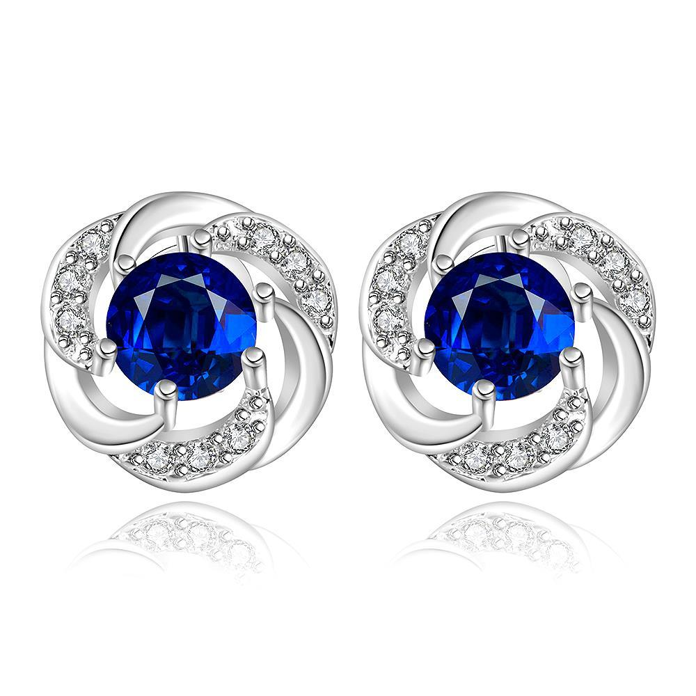 Vienna Jewelry Sterling Silver Curved Circular Sapphire Stud Earring