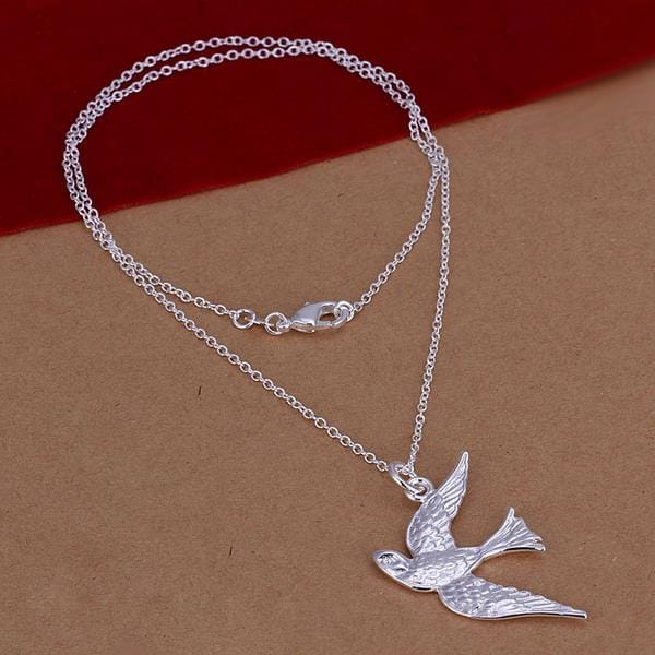 Vienna Jewelry Sterling Silver Peacefull Bird Drop Necklace