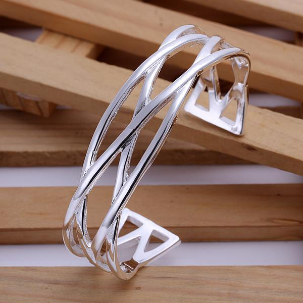 Vienna Jewelry Sterling Silver Intertwined Matrix Open Bangle