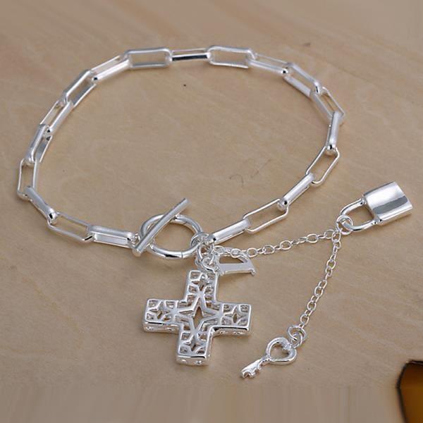 Vienna Jewelry Sterling Silver Cross & Charms Bracelet