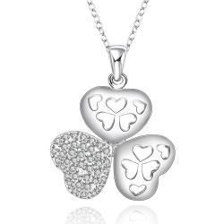 Vienna Jewelry Sterling Silver Laser Cut Trio-Clover Petals Drop Necklace - Thumbnail 0